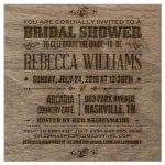 Bridal Wedding Shower Invitation - Rustic Vintage Burned Oak Wood