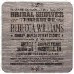 Bridal Wedding Shower Invitation - Rustic Vintage Burned Ash Wood