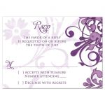 Eggplant purple and lavender purple abstract floral elegant wedding RSVP reply card front