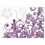Eggplant purple and lavender purple abstract floral elegant wedding RSVP reply card back