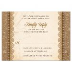 Elegant rustic burlap and lace wedding RSVP reply card front
