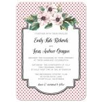 Retro Polka Dots & Flowers Wedding Invitations front