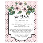 Retro Polka Dots & Flowers Wedding Enclosure Cards front