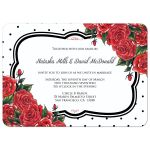Red roses and black polkadots wedding invitation