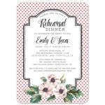 Retro Polka Dots & Flowers Wedding Rehearsal Dinner Invitations front
