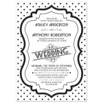 Chic, retro 50s black and white polka dot wedding invitation front