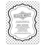 Retro 1950s chic black and white polka dot wedding website rsvp reply card front