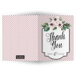 Retro Polka Dots & Flowers Wedding Personalized Thank You Cards