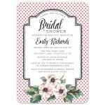 Retro Polka Dots & Flowers Bridal Shower Invitations front