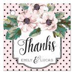 Retro Polka Dots & Flowers Wedding Thank You Favor Tags