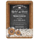 Great rustic country wedding invitation with burlap, lace, chalkboard, leather, metal flowers and a pearl