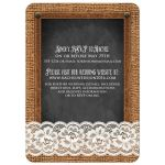 Best country chalkboard wedding invite with a pearl jewel, white lace, brown burlap, leather, and metal flowers