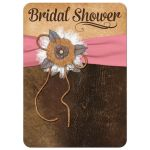 Shabby chic pink and brown bridal shower invitation with burlap, leather, linen, metal flowers, and a pearl jewel