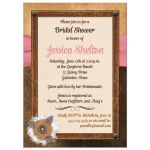 Bridal shower invite with brown leather, ivory linen, pink ribbon, burlap and metal flowers, and pearl jewels.