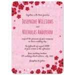 Cute wedding invitation with fuchsia red hand drawn flowers over pink polka for pattern