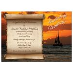 Best destination wedding invitation with sailboat at sunset