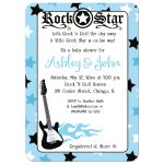 Rock Star Boy Baby Shower Invitation Blue 5x7