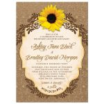 Rustic sunflower, lace floral and burlap wedding invitation front