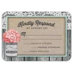 Rustic Tin Can & Hydrangea Wedding RSVP Cards front