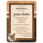Bridal shower invite with brown leather, ivory linen, pink floral lace, burlap and metal flowers, and pearl jewels.