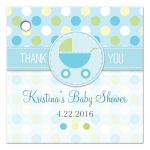 Baby Shower Favor Tag - Blue and Green Polka Dot Pram Stroller