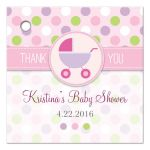 Baby Shower Favor Tag - Pink and Purple Polka Dot Pram Stroller
