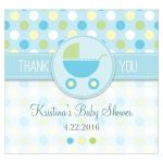 Baby Shower Beverage Label  - Blue and Green Polka Dot Pram Stroller