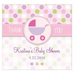 Baby Shower Beverage Label  - Purple and Pink Polka Dot Pram Stroller