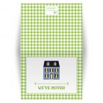 Housewarming Moving Card - Green Gingham Dollhouse