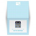 Housewarming Moving Card - Blue Gingham Dollhouse