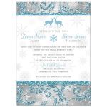 Best winter wonderland photo wedding invite in cool blue glitter, silver and white snowflakes with a pair of deer