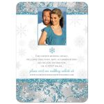 Great and affordable blue glitter, silver grey and white snowflakes floral damask photo wedding invite with a pair of deer