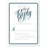 Modern Calligraphy Nautical Wedding RSVP Cards front