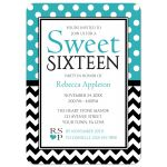Sweet 16 Invitations - Polka Dot Turquoise & Chevron
