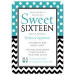 Sweet 16 Invitations - Polka Dot Turquoise & Chevron