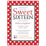 Sweet 16 Invitations - Polka Dot Red and White