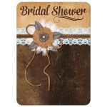 Best shabby chic pastel blue and brown bridal shower invitation with burlap, lace, leather, linen, metal flowers, and a pearl jewel