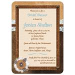 Great bridal shower invite with brown leather, ivory linen, blue floral lace, burlap and metal flowers, and pearl jewels.