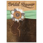 Great shabby chic mint green and brown bridal shower invitation with burlap, leather, linen, metal flowers, and a pearl jewel