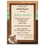 Best bridal shower invite with brown leather, ivory linen, mint green ribbon, burlap and metal flowers, and pearl jewels.