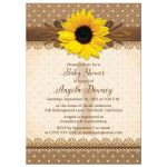 Rustic lace, burlap, polka dots and yellow sunflower country baby shower invitation front