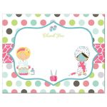 Spa sleepover birthday party thank you flat A2 card