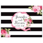 Black stripes and pink roses chic wedding RSVP flat A2 cards