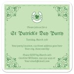 Stylish Saint Patty's day invitation design with luck horse shoe