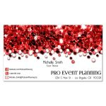 red glittery confetti business card