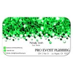 emerald green sparkly confetti business cards