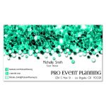 teal sparkly confetti professional business cards