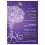 Ornate Tree of Life Purple Bat Mitzvah invitation front
