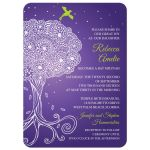Ornate Tree of Life Purple Bat Mitzvah invitation front