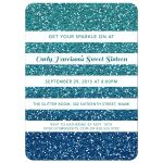 Blue Ombre Glitter Striped Sweet 16 Party Invitation